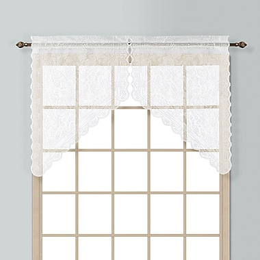 United Curtain Co. Windsor 2 Piece 56'' Curtain Valance Set; White