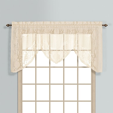 United Curtain Co. Windsor Rod Pocket Swag 72'' Curtain Valance; Natural