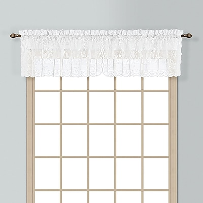 United Curtain Co. Windsor Rod Pocket Scalloped 56'' Curtain Valance; White