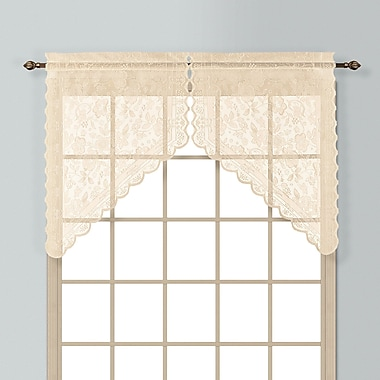 United Curtain Co. Windsor 2 Piece 56'' Curtain Valance Set; Natural