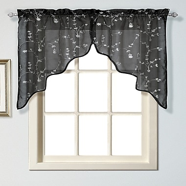 United Curtain Co. Savannah 2 Piece 51'' Curtain Valance Set; Black