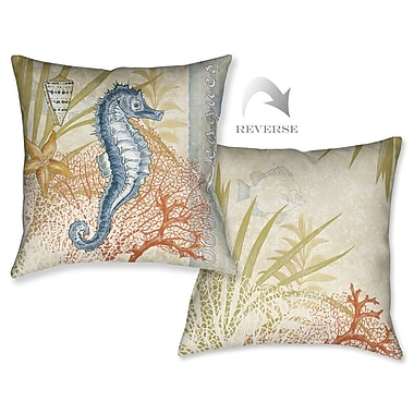 LauralHome Oceana Seahorse Outdoor Throw Pillow