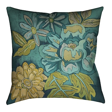 LauralHome Teal Bouquet II Outdoor Throw Pillow