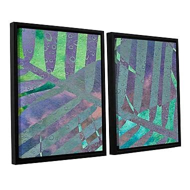 ArtWall 'Leaf Shades III' by Cora Niele 2 Piece Framed Graphic Art on Canvas Set