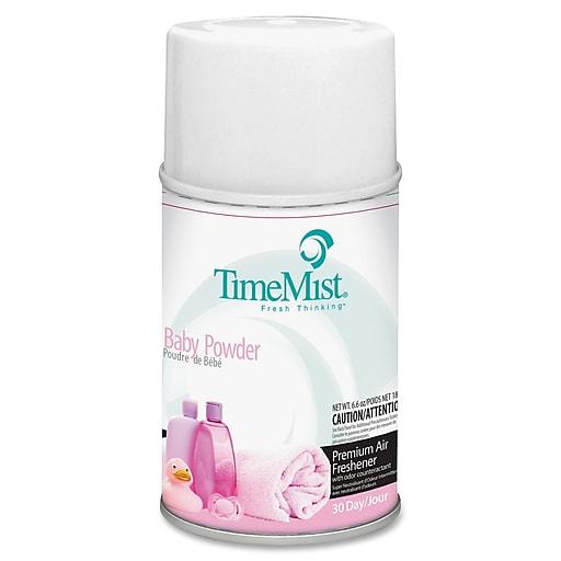 TimeMist Metered Dispenser Baby Powder Scent Refill, Aerosol, 6000 ft³, 5.3 fl oz (0.2 quart), Baby Powder, 30 Day, 1 Each