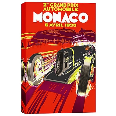 Epic Graffiti Monaco Grand Prix 1930 Vintage Advertisement on Canvas; 26'' H x 18'' W x 1.25'' D