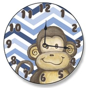 Stupell Industries 12'' Monkey and Blue Chevron Vanity Clock