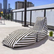 Jaxx Prado Outdoor Striped Bean Bag Chaise Lounge Chair; Taupe Stripe