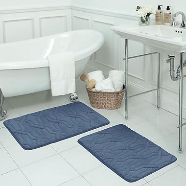 Bath Studio Drona Large 2 Piece Premium Micro Plush Memory Foam Bath Mat Set; Dusty Blue