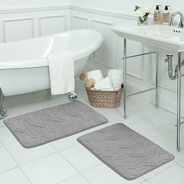 Bath Studio Drona Large 2 Piece Premium Micro Plush Memory Foam Bath Mat Set; Light Grey