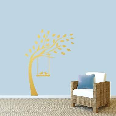 SweetumsWallDecals Tree w/ Birds on Swing Wall Decal; Gold