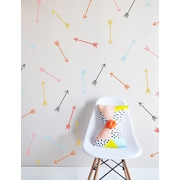 The Lovely Wall Company Bright Dainty Arrows Wall Decal; Ice / Coral / Yellow