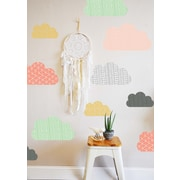 The Lovely Wall Company Geo Clouds Wall Decal; Coral / Mint / Mustard / Charcoal