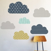 The Lovely Wall Company Geo Clouds Wall Decal; Navy / Aqua / Gray / Olive