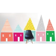 The Lovely Wall Company Hand Sketched Houses Wall Decal; Bright Pink / Aqua / Yellow / Green