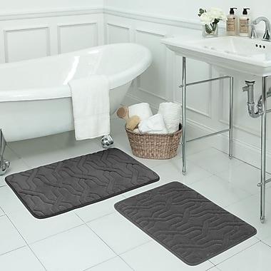 Bath Studio Drona Large 2 Piece Premium Micro Plush Memory Foam Bath Mat Set; Dark Grey