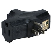 QVS® PA-3P-4PK 3-Outlets Space-Saver Grounded Power OutletsSplitter, Black