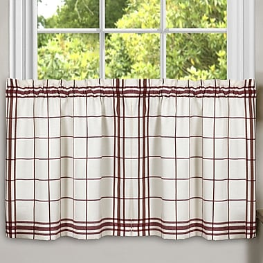 Sweet Home Collection Cambridge Plaid Kitchen Tier Curtain (Set of 2); Burgundy