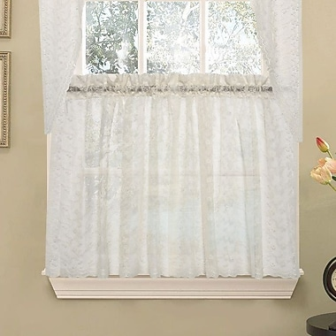 Sweet Home Collection Elegant Priscilla Lace Kitchen Tier Curtain; 36'' L x 58'' W