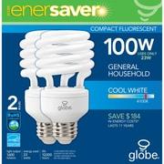 Globe - Ampoule éconergétique T2 CFL, 23 W, blanc froid, paq./2