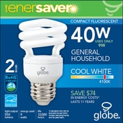 Globe T2 CFL Energy Saver Light Bulbs, 9W, Cool White, 2/Pack