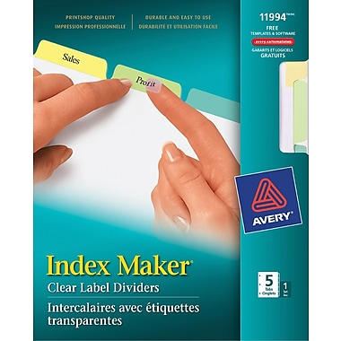 AveryMD – Intercalaires avec étiquettes transparentes Index MakerMD, pastel, ensemble de 5 onglets