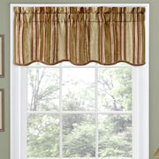 Traditions by Waverly Stripe Ensemble Scalloped 52'' Curtain Valance; Antique