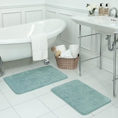 Bath Studio Reve 2 Piece Micro Plush Memory Foam Bath Mat Set; Aqua