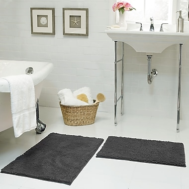 Resort Collection Chenille Plush 2 Piece Bath Mat Set; Gray