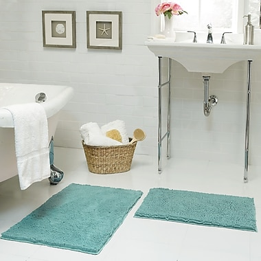 Resort Collection Chenille Plush 2 Piece Bath Mat Set; Aqua
