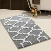 Saffron Fabs 2 Piece 100pct Soft Cotton Bath Rug Set; Gray/White