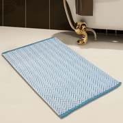 Saffron Fabs 2 Piece 100pct Cotton and Tufted Bath Rug Set; White/Blue