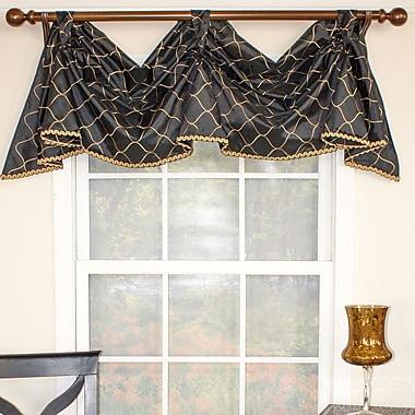 RLF Home Emily 2-Scoop Celebration 50'' Curtain Valance; Black