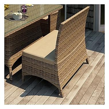 Forever Patio Cypress Wicker Loveseat Bench w/ Cushion; Spectrum Mushroom / Spectrum Sand Welt