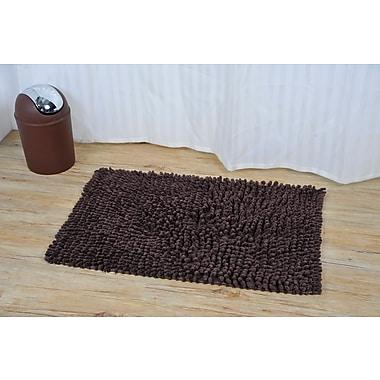 Evideco Prestige Marley Rectangular Soft Bath Rug; Brown