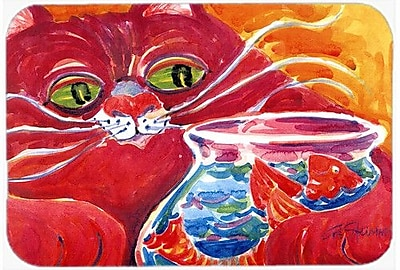 Caroline's Treasures Big Cat At The Fishbowl Kitchen/Bath Mat; 20'' H x 30'' W x 0.25'' D