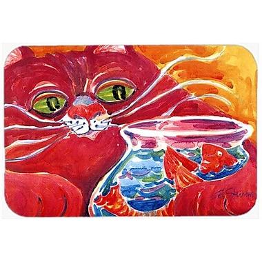 Caroline's Treasures Big Cat At The Fishbowl Kitchen/Bath Mat; 24'' H x 36'' W x 0.25'' D