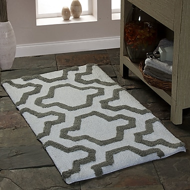 Saffron Fabs 2 Piece 100pct Soft Cotton Bath Rug Set; White/Gray