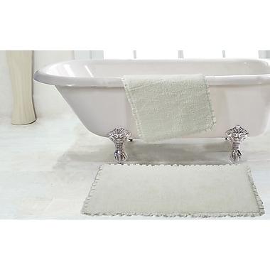 Chesapeake 2 Piece Verona Pleat Trim Bath Rug Set; Ivory