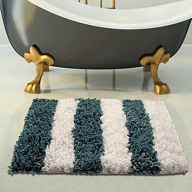 Saffron Fabs 2 Piece Woven Bath Rug Set; White/Blue