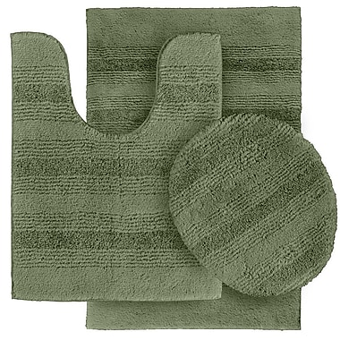 Wildon Home Deyanira 3 Piece Green Bath Rug Set (Set of 3); Deep Fern