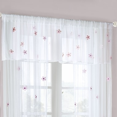 Mi-Zone Floral Curtain Valance; White / Pink