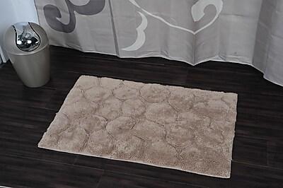 Evideco Prestige Stone Rectangular Soft Bath Rug; Taupe