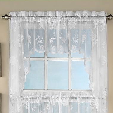 Sweet Home Collection Reef Marine Knitted Lace Kitchen 60'' Curtain Valance; White