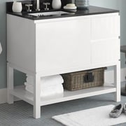 Ronbow Chloe 36'' Bathroom Vanity Base Cabinet in Glossy White - Large Drawer on Left