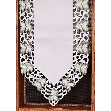 Xia Home Fashions Tannenbaum Embroidered Cutwork Holiday Runner; 28'' W x 12'' L