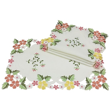 Xia Home Fashions Fancy Flowers Placemats (Set of 4); Pink