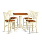 East West Eden 5 Piece Counter Height Pub Table Set; Buttermilk/Cherry