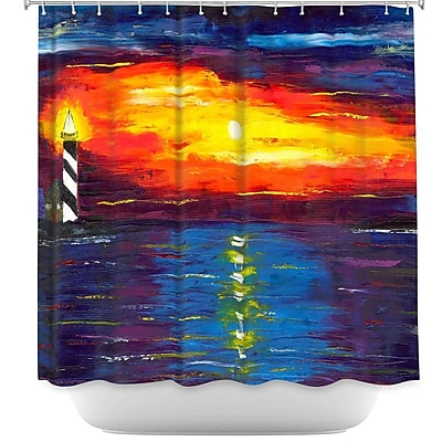 DiaNocheDesigns Sunset at Lighthouse Shower Curtain