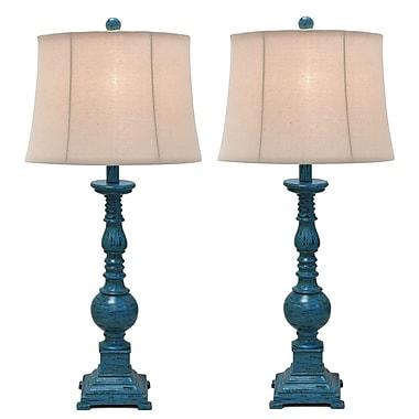 Urban Designs Kerry Distressed Polystone Pedestal 31'' Table Lamp (Set of 2)